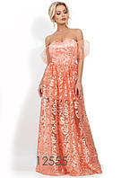 4786817c075 Вечернее коралловое платье в пол с декольте-сердце Д-815