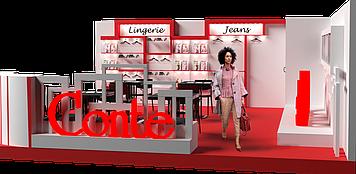 """Небольшой выставочный стенд для торгового бренда """"CONTE"""""""