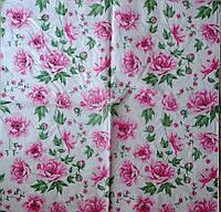 """Салфетка декупажная 33x33 см 18 """"Пионы розы розовые"""""""