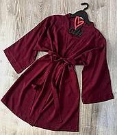 Женские халаты для дома, штапельный халат на запах 047-вишня.