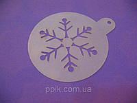 Трафарет для торта, капкейков, кофе Снежинка 7