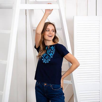 Жіноча футболка вишиванка Зірки синя, фото 2