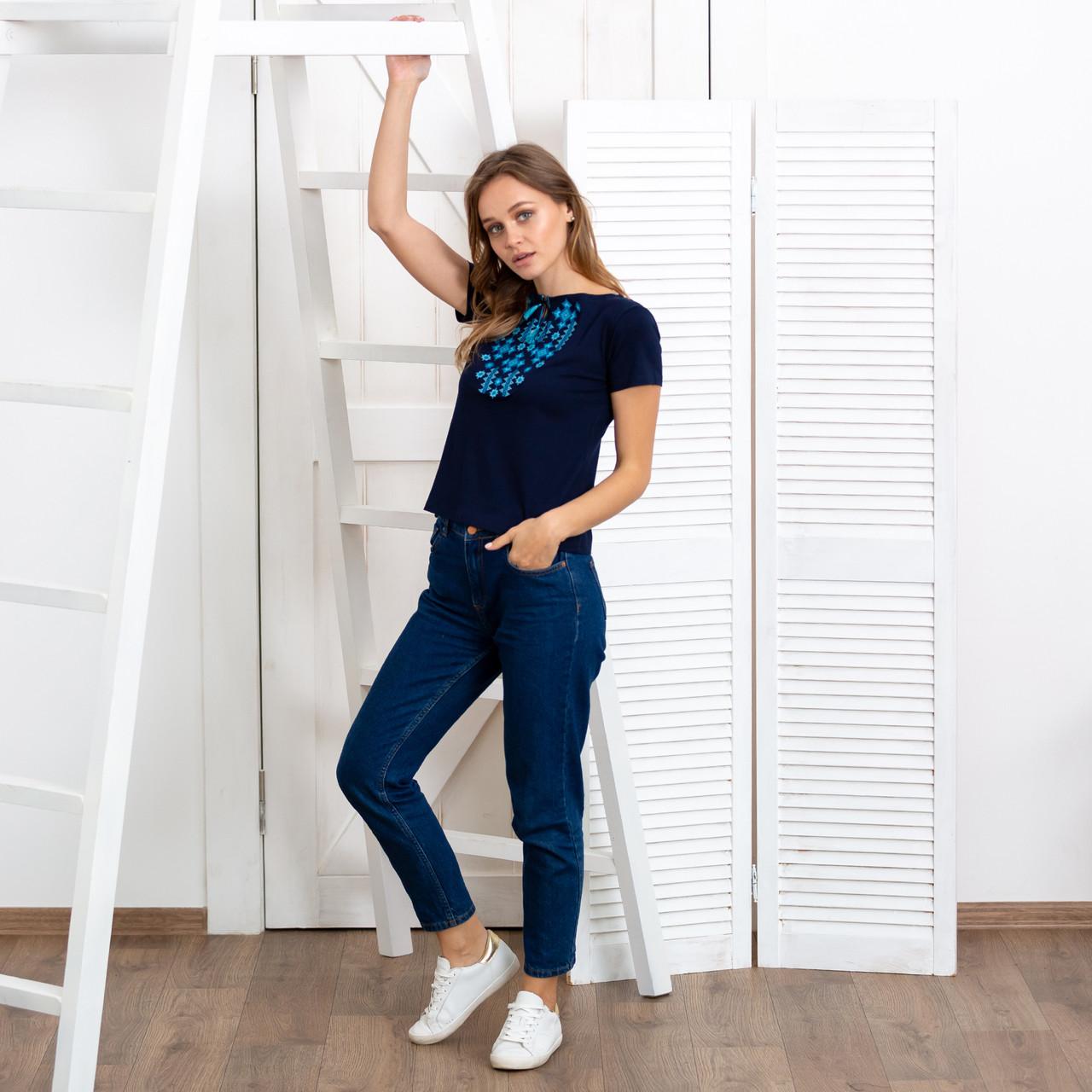 Жіноча футболка вишиванка Зірки синя