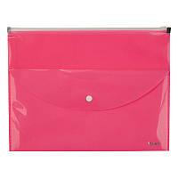 Папка-конверт,zip-lock,2 отделения,А4,розовая