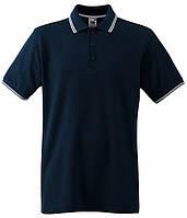 Мужская рубашка поло с полосками 50, Глубокий Темно-Синий / Белый