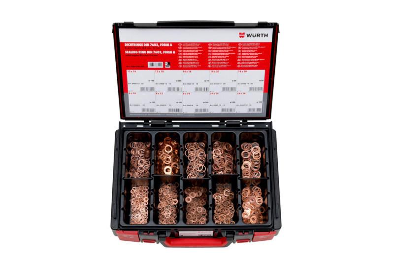 Набор уплотнительных колец из однородной меди в кейсе System DIN 7603, форма А 6-14мм 850 шт. Wurth