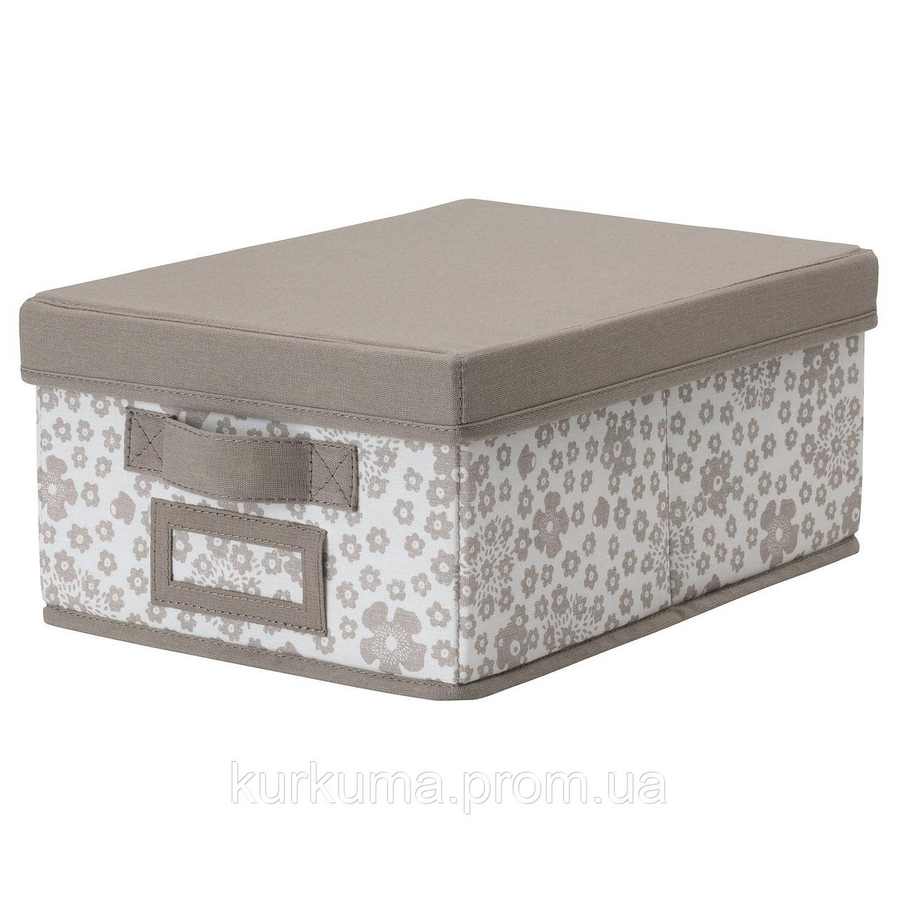 IKEA STORSTABBE Коробка с крышкой, бежевый  (704.103.67)