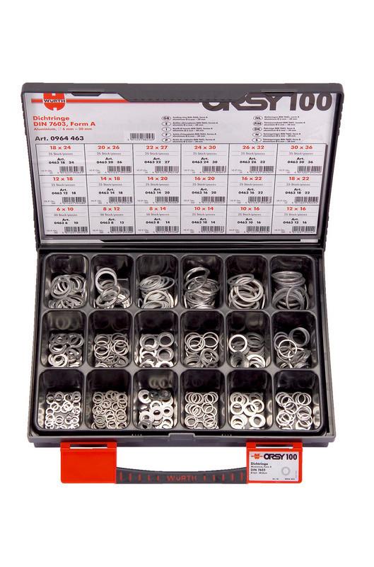 Набор уплотнительных колец из однородного алюминия в кейсе ORSY100 DIN 7603, форма А 6мм-30мм 525 шт. Wurth