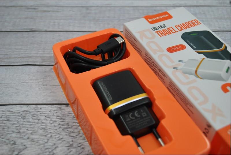 Зарядное устройство REDAX RDX-013 2,1А + 1 кабель (MicroUSB, Lighting, C-Type)  MicroUSB(Android)