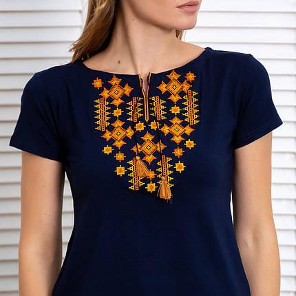 Женская футболка вышиванка Звезды золото синяя, фото 2