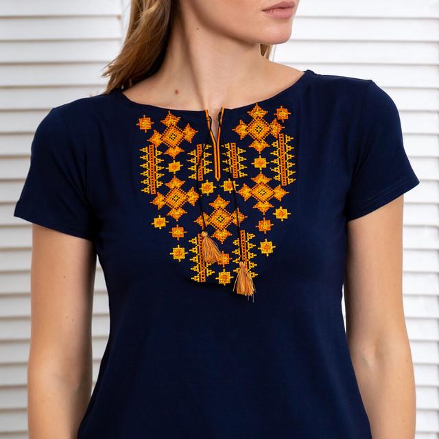 Женская футболка вышиванка Звезды золото синяя