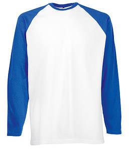Мужская двухцветная футболка с длинными рук. S, AW Белый / Ярко Синий