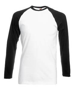 Мужская двухцветная футболка с длинными рук. S, TH Белый / Черный