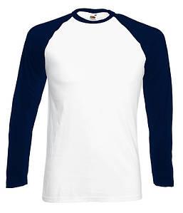 Мужская двухцветная футболка с длинными рук. S, WE Белый / Глубоко Темно-Синий