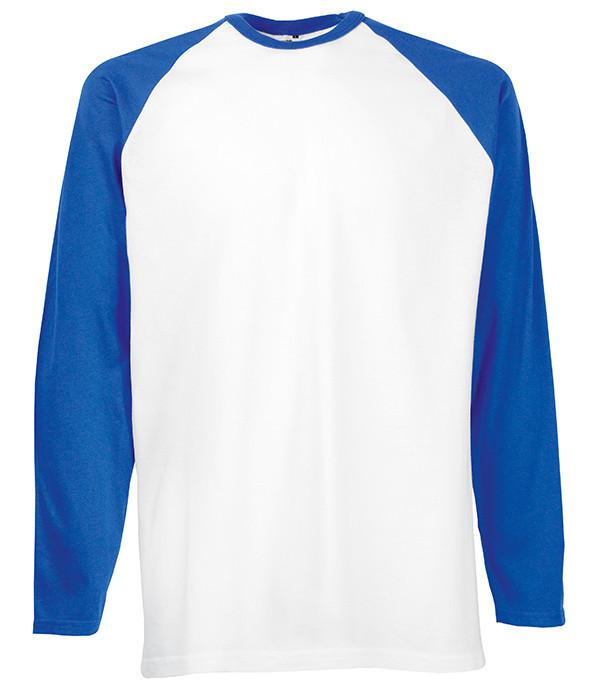 Мужская двухцветная футболка с длинными рук. M, AW Белый / Ярко Синий