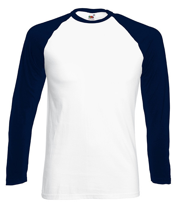 Мужская двухцветная футболка с длинными рук. 2XL, WE Белый / Глубоко Темно-Синий