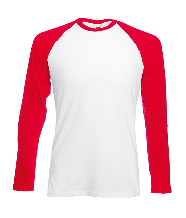 Мужская двухцветная футболка с длинными рук. 2XL, WM Белый / Красный