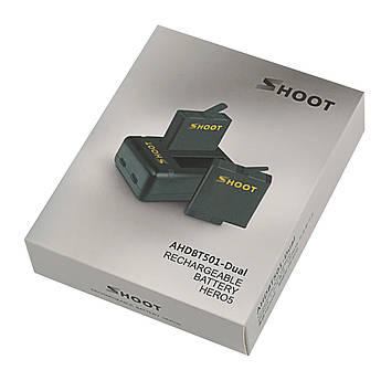 Комплект от SHOOT - 2 шт аккумулятора AABAT-001 (AHDBT-501) + зарядное GoPro Hero 5, 6, 7 (код XTGP374)