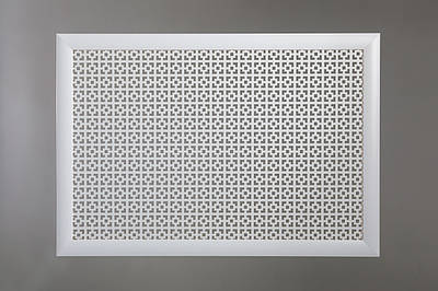 "Решетка на чугунную батарею ""Стандарт"", 68 см х 98 см, цвет белый Эфес"