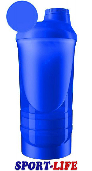 Шейкер спортивний ShakerStore Wave+ с 2 контейнерами Синий