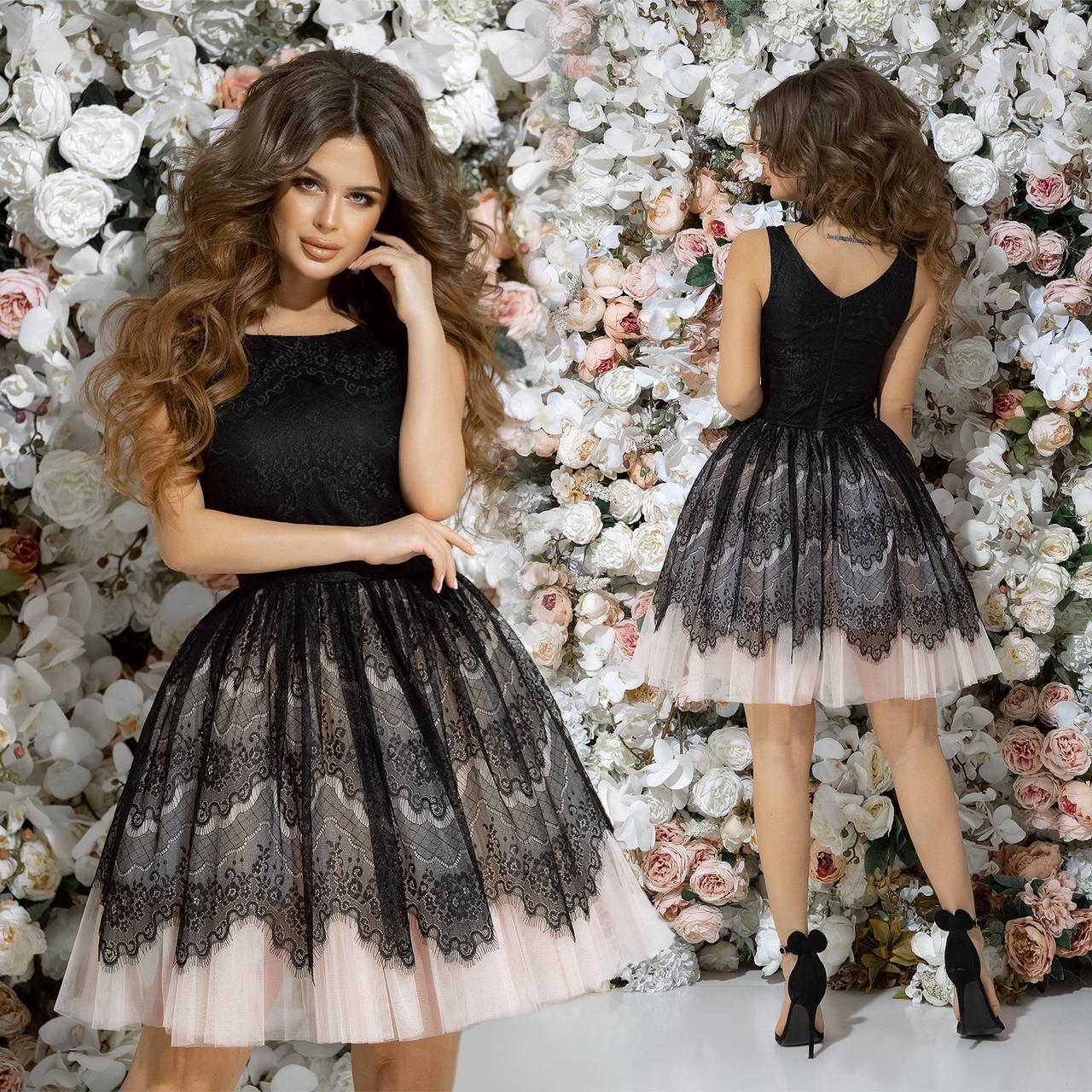907292c9fad50bc Платье вечернее нарядное с пышной гипюровой юбкой, с фатиновым подъюбником,  гипюр на сетке