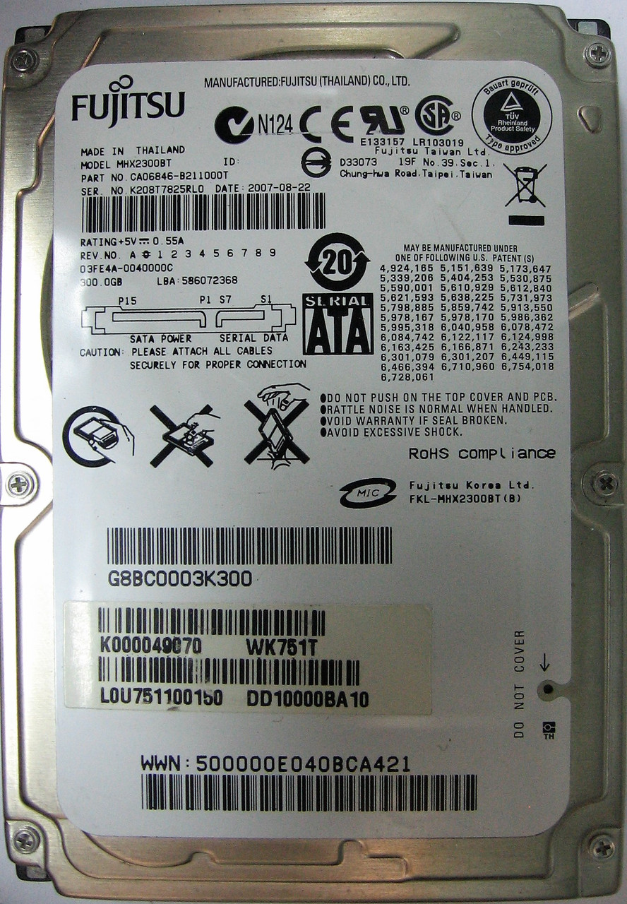 Жесткий диск HDD 300GB 4200rpm 8MB SATA 2.5 12.5mm Fujitsu MHX2300BT K208T7825RL0