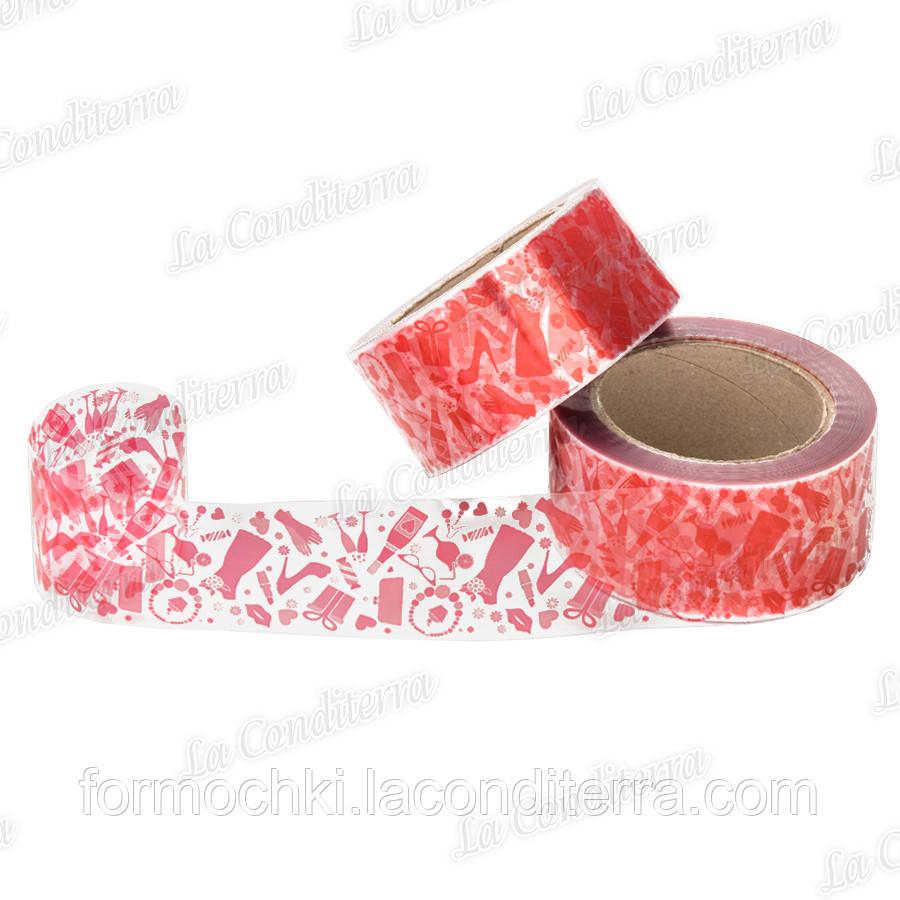"""Бордюрна стрічка для тортів з малюнком """"Кокетка"""" (висота 50 мм), рулон 100 м"""