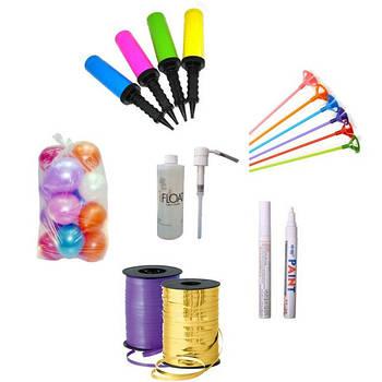 Аксессуары для шаров:насосы, ленты, палочки, светодиоды, маркеры