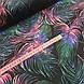 """Ткань польская хлопковая, """"Цветные листья пальмы"""" розово-изумрудные на черном, фото 2"""