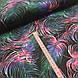 """Ткань польская хлопковая, """"Цветные листья пальмы"""" розово-изумрудные на черном, фото 3"""