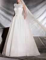 Пышное свадебное платье с открытой спиной из органзы и кружева с пайетками CB-1591