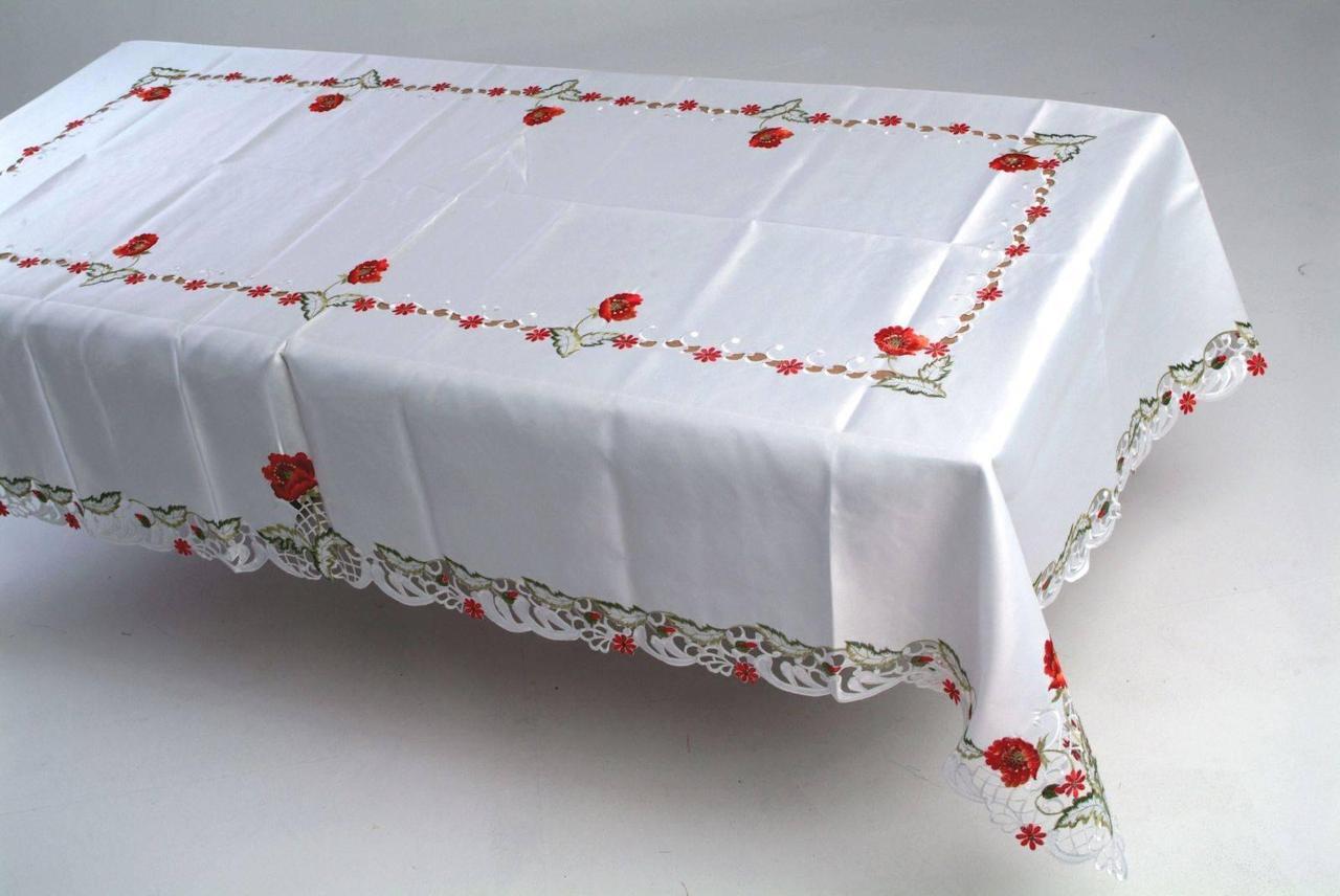 Кружевная скатерть с маками на прямоугольный стол 160*220
