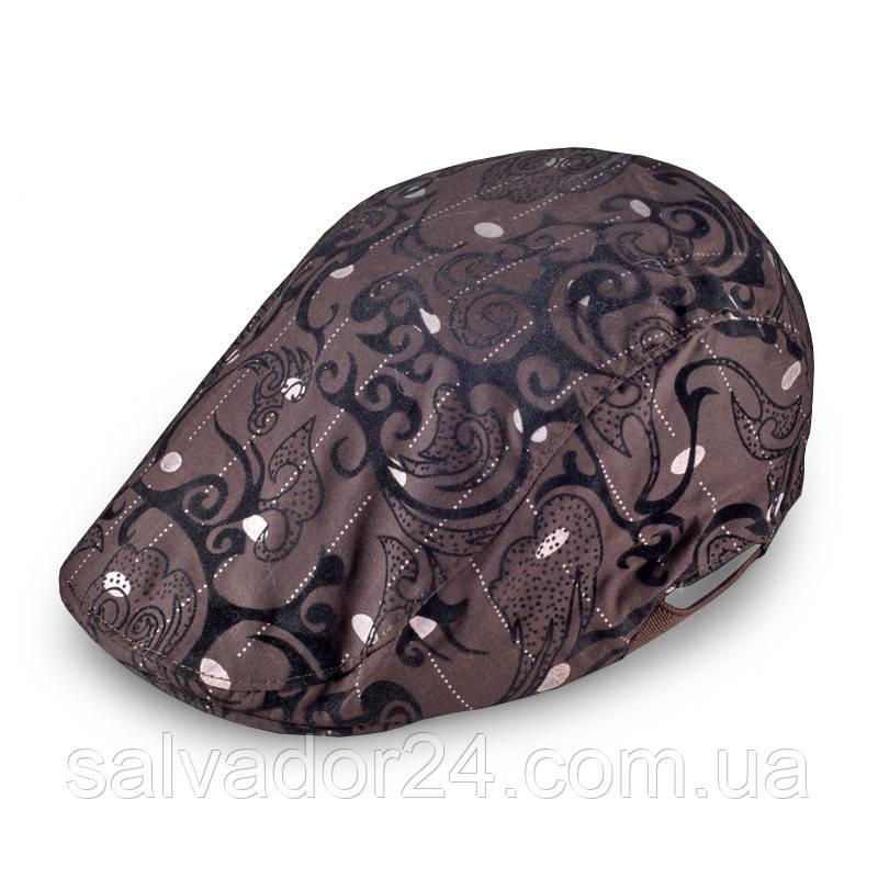 Плоская классическая мужская кепка коричневая