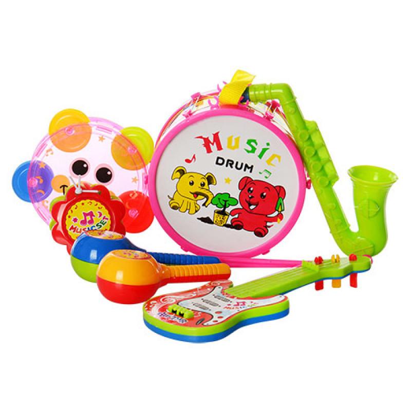 Музичні інструменти 2013C барабан, гітара, маракас, бубон, дудка, 2 кольори, в кульку, 18-26-9 см