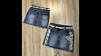 Джинсовая юбка для девочки на 5-8 лет с поясом оптом