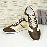 Кроссовки мужские кожаные бежево-кофейные, на шнуровке, фото 3