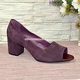 Туфли замшевые с открытым носком, на невысоком устойчивом каблуке, цвет фиолет, фото 2