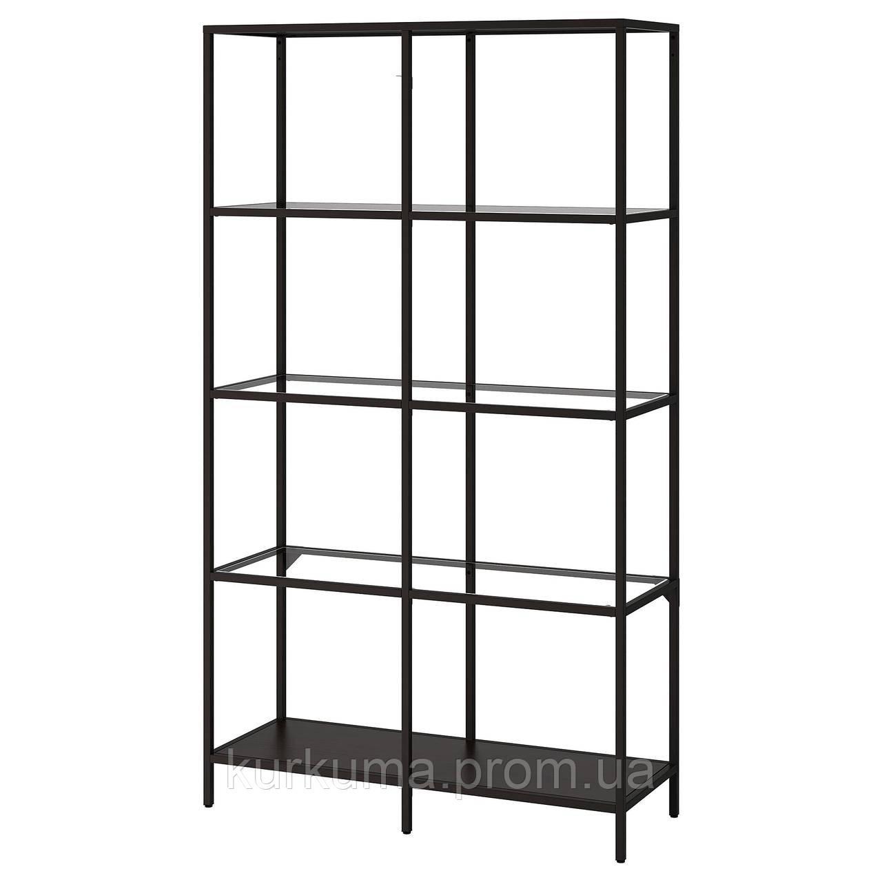 IKEA VITTSJO Стеллаж, черно-коричневый, стекло  (202.133.12)