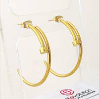Серьги кольца позолоченные из стали 35 мм 101939