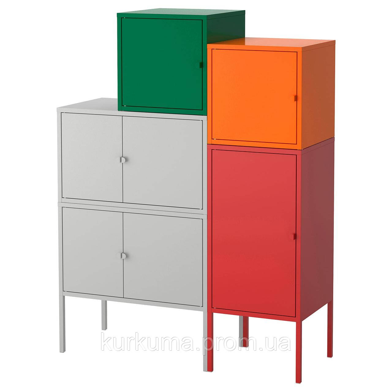 IKEA LIXHULT Шкаф, серый темно-зеленый, красный/оранжевый  (092.489.16)
