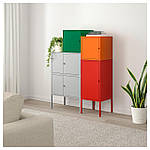 IKEA LIXHULT Шкаф, серый темно-зеленый, красный/оранжевый  (092.489.16), фото 2