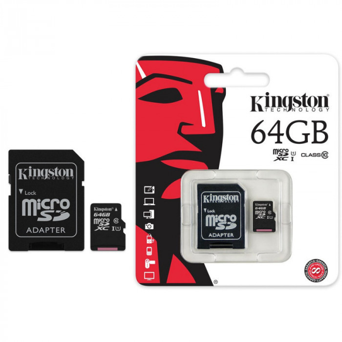 Карта памяти MicroSD Kingston 64Gb + адаптер 10 class original