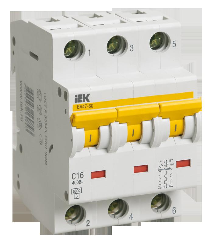 Автоматичесий выключатель ВА 47-60 3Р 63А 6 кА х-ка C (MVA41-3-063-C) IEK