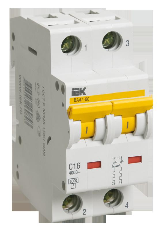Автоматичесий выключатель ВА 47-60 2Р 25А 6 кА х-ка D (MVA41-2-025-D) IEK