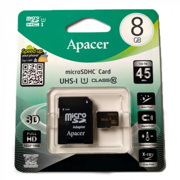 Карта памяти Apacer микро 8Gb (+адаптер SD) Class 10