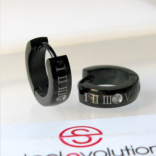 Серьги кольца из стали черные 13 мм