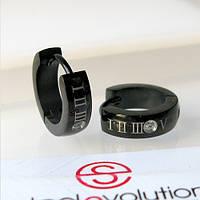Серьги кольца из стали черные 13 мм, фото 1