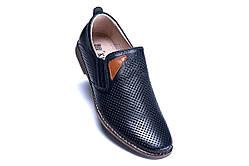 Мужские летние туфли, натур кожа, перфорация , KungFu, 2 цвета, на резинке
