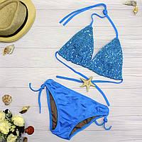 Женский купальник голубой с пайетками