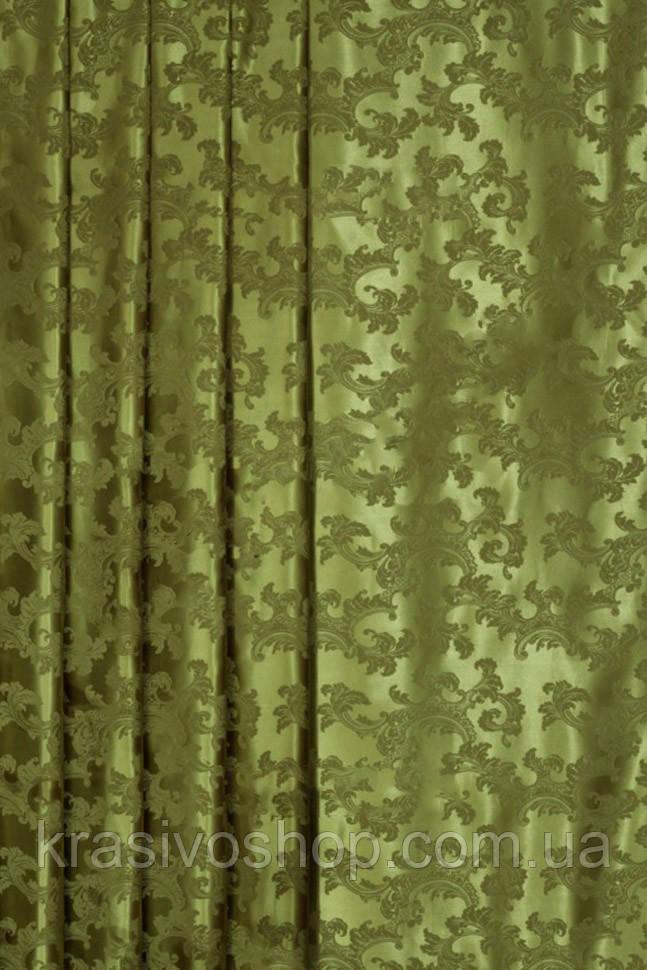 Ткань для Штор из атласа  орлеан  оливка